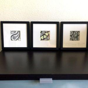 "Set of Three Square Boho Wall Decor pieces 10x10"""